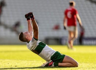 Colin O'Riordan celebrates at the final whistle.