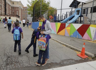 Students with a teacher in Manhattan (file photo)