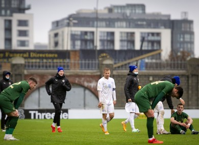 Ireland's Daniel Mandroiu, Lee O'Connor and Daniel Grant dejected after the Iceland game.