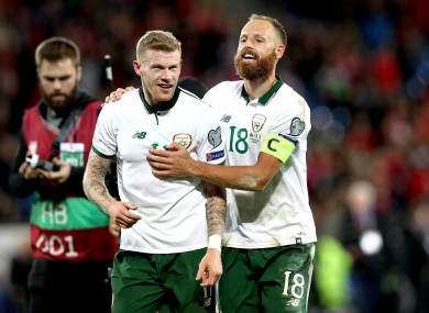 Celebrating the win over Wales with goalscorer James McClean.