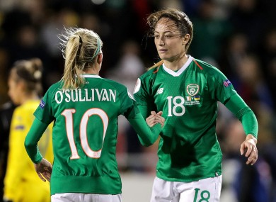 Man City's Megan Campbell (R) is in line to feature for Ireland for the first time since October 2019.