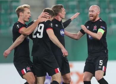 Dundalk players celebrate with goalscorer David McMillan.