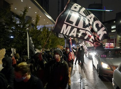 Protesters marching in Seattle