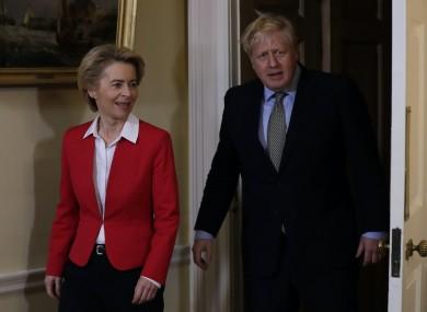 File photo. Boris Johnson with EU Commission President Ursula von der Leyen