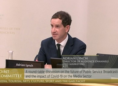 Adrian Lynch, the director of audience channels speaking at the Oireachtas Committee today.
