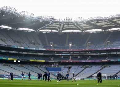 The Galway players inspect Croke Park ahead of yesterday's game.