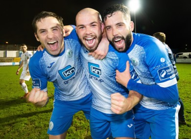 Finn Harps' Gareth Harkin, Mark Coyle and David Webster celebrate staying in the Premier Division.