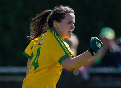 Geraldine McLaughlin celebrates scoring a goal.