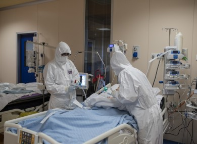Medical staff treating Covid-19 patients in a hospital in Rome, Italy