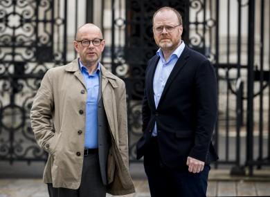 File photo. Barry McCaffrey (left) and Trevor Birney standing outside Belfast High Court.