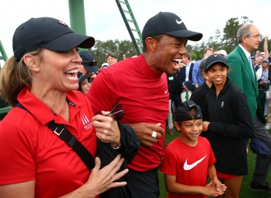 Woods' children Sam, 13, and Charlie, 11, were in Augusta to celebrate his 2019 Masters win.