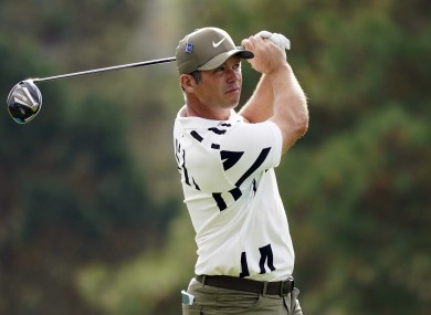 Paul Casey plays his shot from the eighth tee.