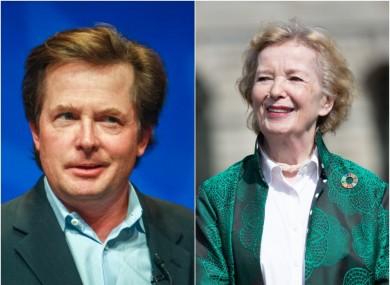 Michael J Fox and Mary Robinson