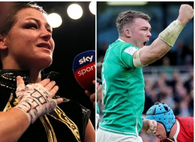 From left to right: Tiger Woods celebrates his 2019 Masters win, Katie Taylor is serenaded by the crowd in Manchester following her victory over Christina Linardatou last year, and Peter O'Mahony celebrates an Ireland try against Wales in this year's Six Nations.