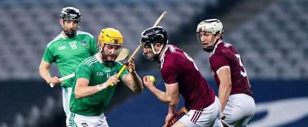 Limerick's Seamus Flanagan and Galway's Padraic Mannion.
