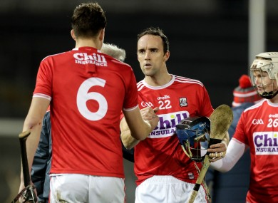 Cork players Robert Downey and Stephen McDonnell after the game.