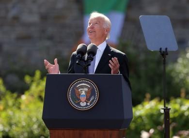 Joe Biden delivers a keynote speech in the grounds of Dublin Castle in June 2016
