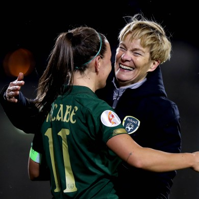 Vera Pauw and her captain Katie McCabe.