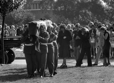Members of the Second Parachute Regiment bearing the flag draped coffin of their colleague, Private Gary Ivan Barnes, at Ipswich. Private Barnes was the youngest victim of the Warrenpoint massacre
