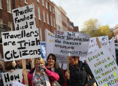 Hundreds of Travellers and supporters protesting outside Leinster House in Dublin in 2015.
