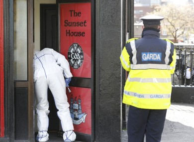 Forensic teams at the scene of the shooting of Michael Barr which took place at the Sunset House pub, Summerhill, Dublin, in April 2016.