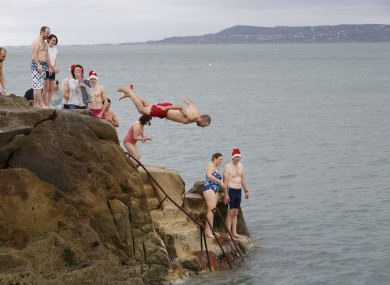 File photo. The Christmas plunge at the 40 Foot.