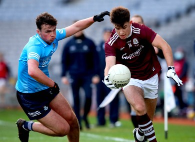 Tomo Culhane in action for Galway against Dublin's Adam Rafter.