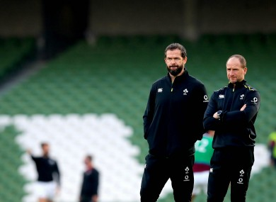 Farrell with assistant Mike Catt last month.