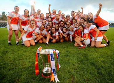 Armagh players celebrate their All-Ireland victory.