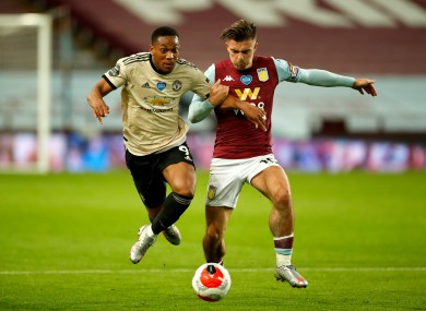 Man United striker Anthony Martial and Aston Villa captain Jack Grealish when the sides met in July.
