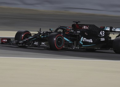 Mercedes driver George Russell steers his car during practice at Bahrain.