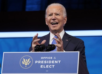 US President-elect Joe Biden speaking after the Electoral College vote yesterday.