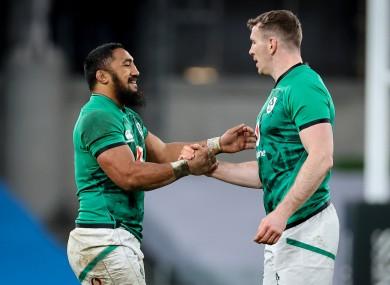 Bundee Aki and Chris Farrell after Ireland's win over Scotland.