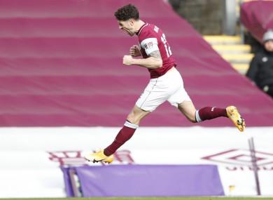 Burnley's Robbie Brady celebrates scoring.