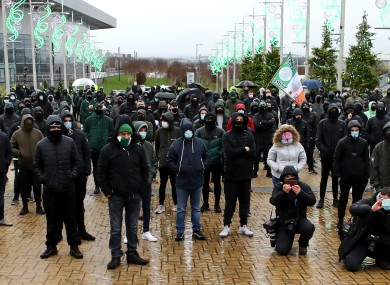 Celtic fans outside the stadium.