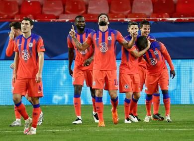 Olivier Giroud celebrates after scoring for Chelsea.