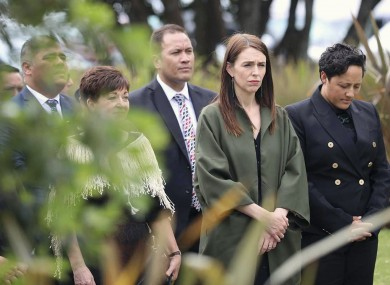 Jacinda Ardern attends a service in Whakatane to mark the first anniversary of the White Island volcanic eruption.
