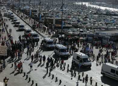 The scene at Old Port in Marseille, France after football fans clashed ahead of the England vs Russia France Euro 2016 match