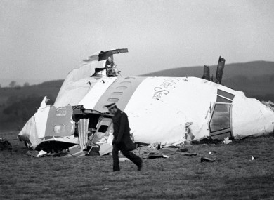 The wrecked nose section of the Pan-Am Boeing 747 in Lockerbie, Scotland.
