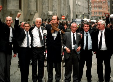 The Birmingham Six after being released in March 1991