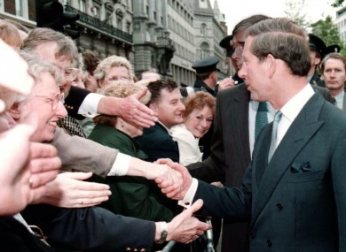 People greet Prince Charles as he went for an informal walkabout along Dublin's College Green in 1995