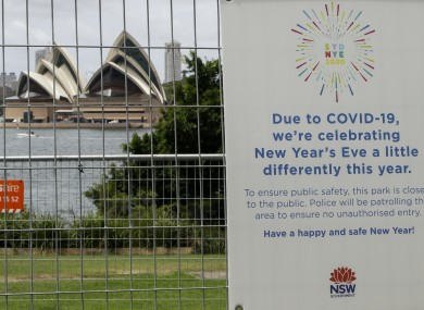 The park near the Sydney Opera House is fenced off