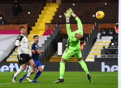Southampton's Shane Long lobs Fulham goalkeeper Alphonse Areola but the goal is ruled out.