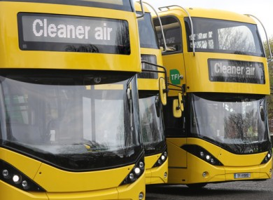 The NTA's double-decker hybrid buses pictured earlier this month.