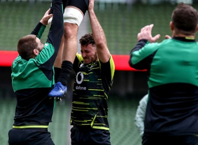 Iain Henderson and Will Connors on lifting duty during last Saturday's captain's run.