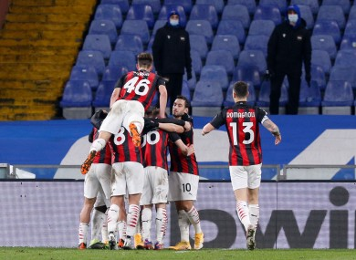 Frank Kessie and team-mates celebrate Milan's opening goal.