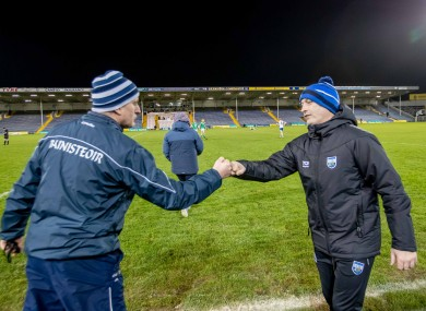 John Kiely and Liam Cahill after the Munster hurling final.