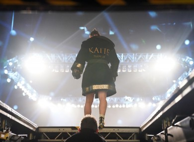 Katie Taylor makes her way to the ring for her most recent lightweight title defence against Miriam Gutierrez.