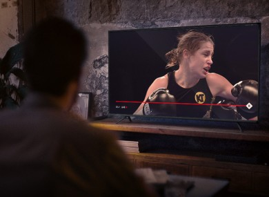 Katie Taylor in action on sports streaming service DAZN.