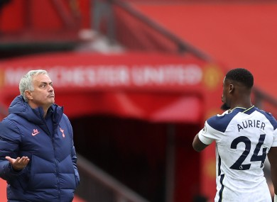 Jose Mourinho and Serge Aurier (file pic).